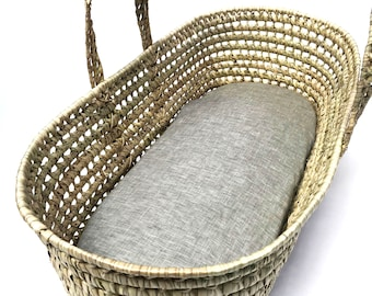 Two 2 100/% Organic Cotton Ivory Jersey Fitted Sheets Moses Basket  Bassinet  Cradle  Changing Basket
