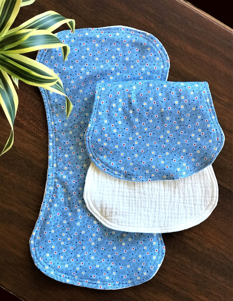 Blue Modern Dots Burp Cloth Set 2 Layers of Organic Cotton Double Gauze