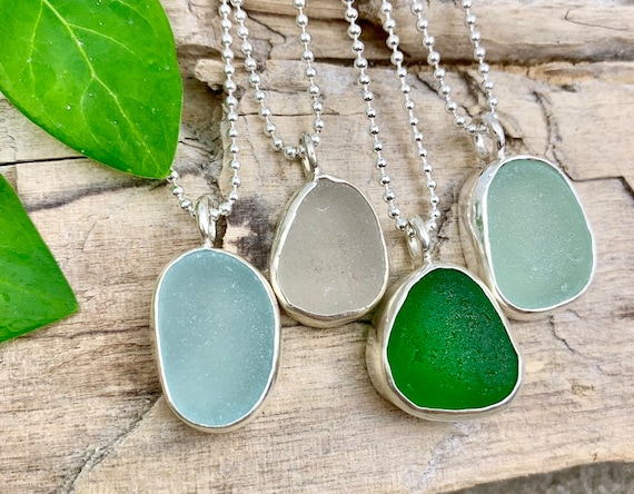 Sea Glass Jewelry Beach Glass Seaglass Necklace Sterling Silver Bedded Necklace English Sea Glass English Sea Glass Necklace