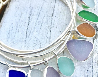 Bracelet Sea Glass Jewelry Sea Glass  Silver Bangle Sea Glass Pendant Charm Bracelet Personalized Sterling Silver Gift for Her One Bracelet