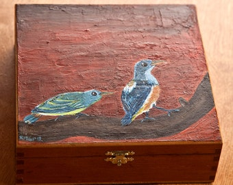 Orange-Bellied Flowerpeckers Wooden Box