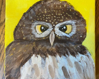Owl square acrylic painting