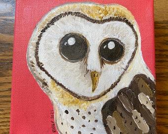 Barn Owl square acrylic painting