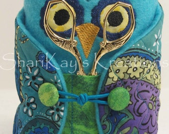 Sewing Owl Pincushion in Multi Color Green and Blue Paisley Pattern Fabric with Peacock Scissors