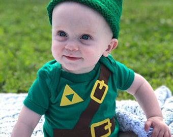 READY TO SHIP Halloween Costume Present / Cosplay  or Baby Shower Gift bodysuit Inspired by Legend of Zelda, Link sewn cotton applique