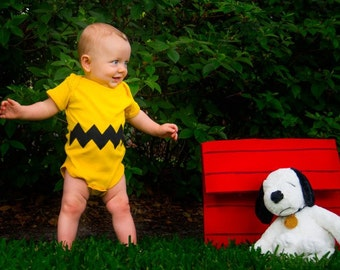 READY TO SHIP Halloween Costume Present / Cosplay  or Baby Shower Gift Charlie Brown inspired sewn cotton zig zag chevron applique