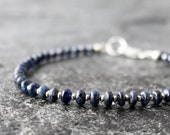 blue sapphire and hill tribe sterling silver bracelet with smooth rondelles, 7 quot wrist