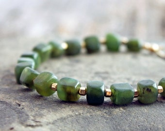 Canadian nephrite jade bracelet with gold-filled nuggets, British Columbia BC jade, BEST seller, custom size, made to order