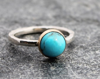 bisbee turquoise ring w/ 14k gold bezel & hammered sterling silver band, round stone, american turquoise, Sagittarius, custom size to order