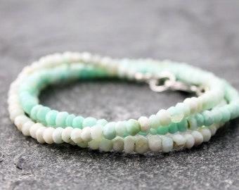 "peruvian blue opal bracelet w/ sterling silver, ombre, wrap bracelet, Libra, Cancer, faceted rondelles, 6.75"" wrist, peru opal necklace"