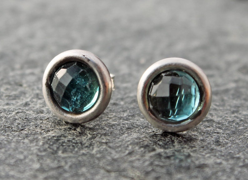Gemini birthstone 8.8mm round blue apatite w matte brushed sterling silver post earrings one of a kind OOAK faceted apatite earrings