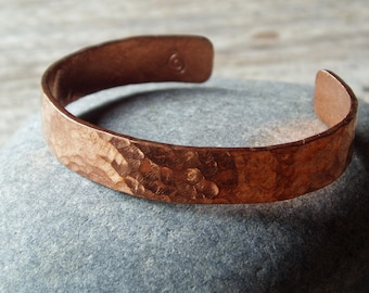 rustic hammered copper cuff, artisan bracelet infused with healing energy for men and women, 10mm wide textured cuff, custom size to order
