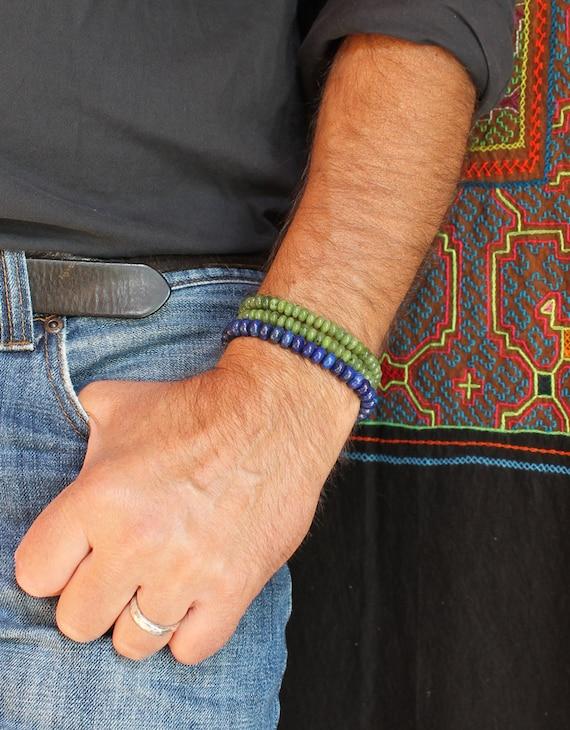 Australia black jade stretch bracelet w 10mm round beads 12th anniversary March birthstone mens black nephrite jade bracelet 7.5 wrist