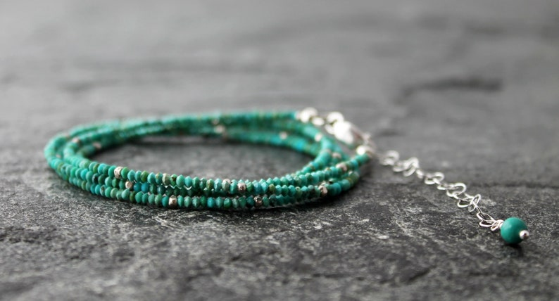 matte turquoise layering bracelet with sterling silver extender chain long multi wrap bracelet delicate and sparkly TINY natural turquoise