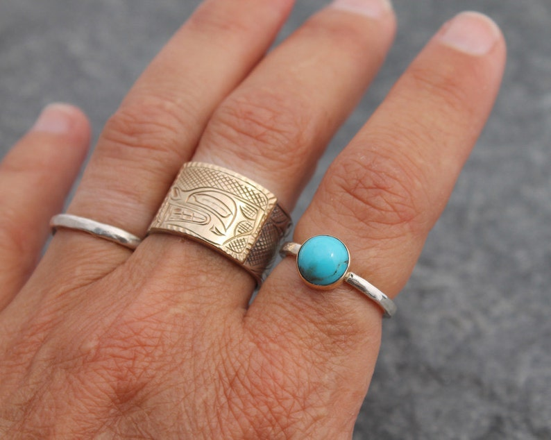 rustic artisan alternative engagement ring Arizona Bisbee turquoise ring custom size to order 14k gold /& hammered sterling silver band