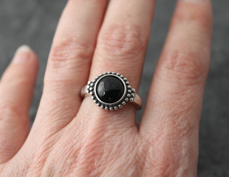 US size 7.5 blackened oxidized silver vintage style black tourmaline ring with adjustable sterling silver band