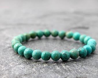 "turquoise stretch bracelet, December birthstone, mens, womens, protection bracelet, 7.5"" wrist, stacking bracelet"