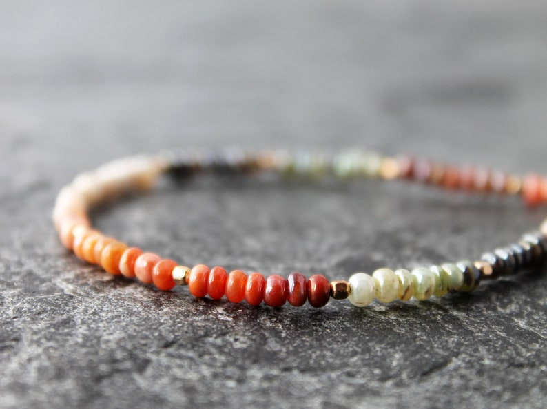 stacking bracelet gold filled accents made to order Peruvian opal bracelet with Mexican opals ombre boho stretch bracelet custom size