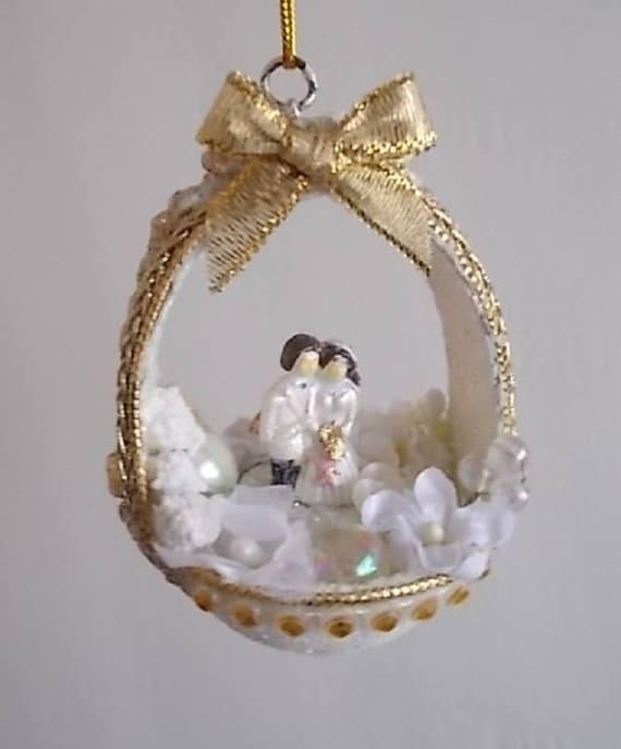 Goldene Hochzeit Huhn Ei Schale Korb Diorama