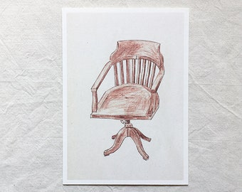 Wooden Office Chairs Postcard Set
