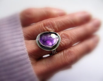 Sterling Silver Ring, Amethyst Gemstone Ring, Handmade Purple Artisan Ring Size 9