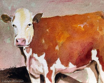 White faced Cow Print 8 x 10 of original watercolor painting Cow print Cow art Cow decor Cow painting Hereford cow art Herford cow print