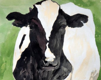 Cow PRINT 8.5 X 11 paper siize Cow Painting cow watercolor PRINT holstein cow black and white cow painting PRINT