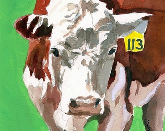 Hereford 113 Cow Print 8 x 10 of original watercolor painting Cow art Cow decor Cow watercolor print Kitchen art Cow collection Cow wall art