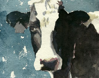 Cow painting Cow art Cow PRINT 8.5 X 11 paper size Cow watercolor Holstein cow painting watercolor painting black and white cow painting