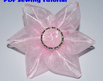 Instant Download - PDF Tutorial - Ribbon Flower 03 Sewing Pattern - A4-size Paper Format
