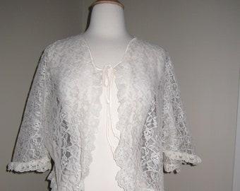 1960s Cream Nylon Lace Bed JacketCape Size Small or Medium