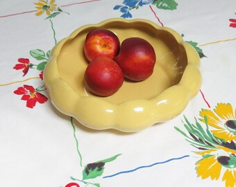 1950s Yellow Ceramic Pottery Bulb Bowl, Vintage, Scalloped Design