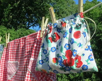 Handmade Drawstring Ditty Bag Made from Colorful Vintage Fruit Fabric