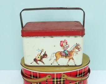 1950s Small Metal Cowboy Theme Lunch Box Picnic Tin, Cute, Scarce, As Is