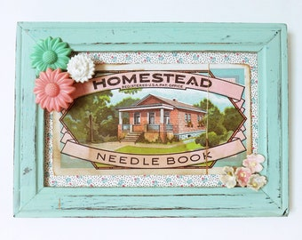 Home Sweet Homestead – Small One of a Kind Mixed Media Wall Art, Handmade with Found Objects & Vintage Ephemera