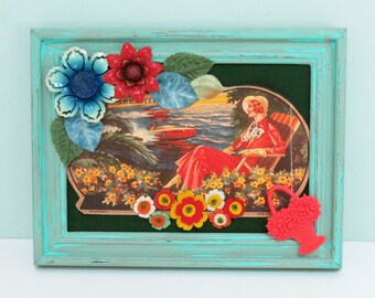 Lady of Leisure – One of a Kind Mixed Media Wall Art, Handmade with Found Objects & Vintage Ephemera