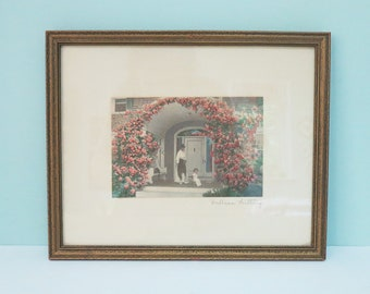 """1911 Wallace Nutting Hand Tinted Signed Photograph, Rosa Series, Titled """"Posing"""" in Original Wooden Frame"""