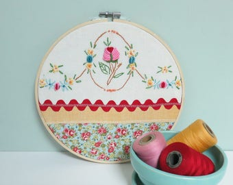 Embroidery Hoop Textile Collage Art, Wall Decor with Stitched Flowers, Rick Rack and Mini Floral Fabric