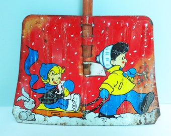 1950s Child's Toy Snow Shovel with Winter Sledding Scene, Charming Vintage Christmas Decor