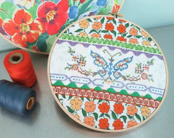 Embroidery Hoop Textile Collage Art Wall Decor with Cross-Stitched Butterfly, Rick Rack, Braided Trim and Orange Flowers