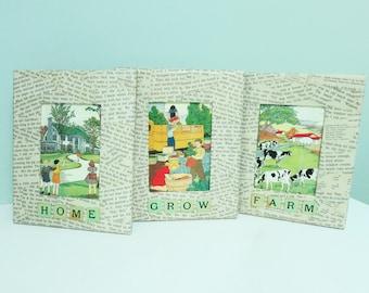 Set of 3 Handmade Decoupage Pictures, Framed Vintage Children's Primer Book Scenes – Home, Grow & Farm