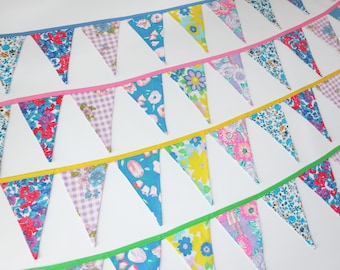 Pennant Banner Bunting Garland, Multi-Color 1970s Vintage Floral Fabric Room Decor, Take Your Pick!