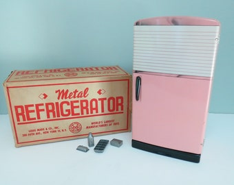 1950s Marx Tin Pink Toy Refrigerator in Mint Condition with Original Box & Rare Extras