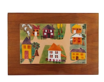 signed Mid Century copper enamel wall art/ vintage 1950s abstract wood enameled wall panel/ 50s art