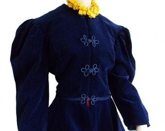 Revival Medieval Victorian blue velvet blazer jacket top/ Neo edwardian peplum jacket/ steampunk Gothic fantasy jacket