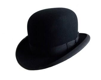 f9a6c5c5 original 1960s Stetson bowler hat / 60s black felt English style hat /  Men's derby hat