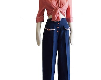 1940s style navy blue pink button sailor pants  40s inspired high waist palazzo pants  1930s button wide leg trousers SPECIAL OFFER