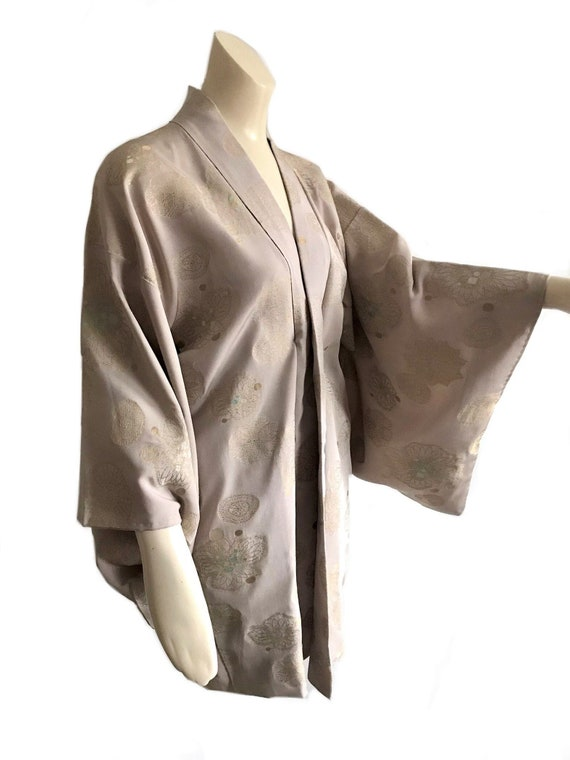 vintage 1950s taupe gold thread brocade kimono dre