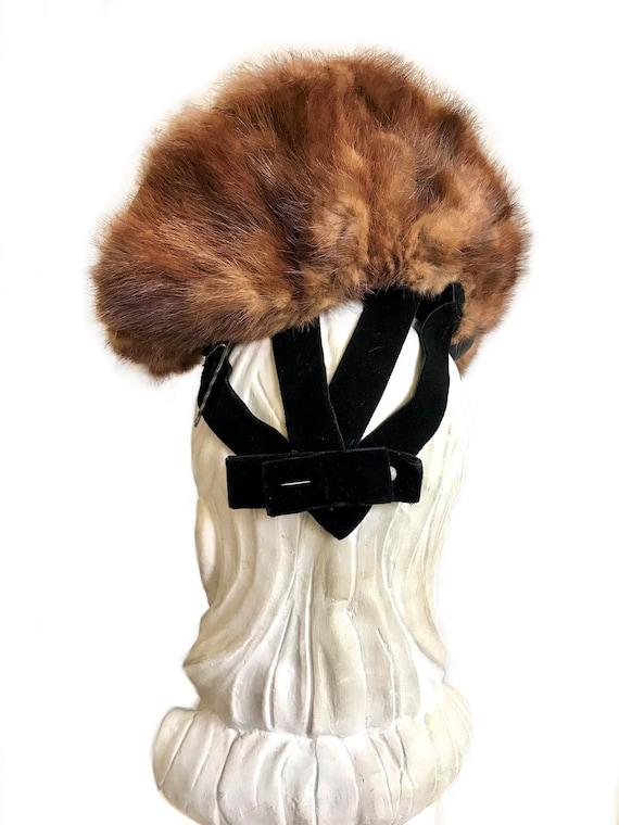 vintage 1930s 1940s wide brim genuine brown mink … - image 7