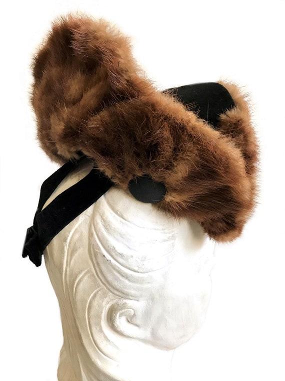 vintage 1930s 1940s wide brim genuine brown mink … - image 5